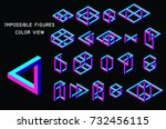 impossible figures  color view  ... | Shutterstock .eps vector #732456115