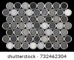 tins of paint in shades of grey. | Shutterstock . vector #732462304