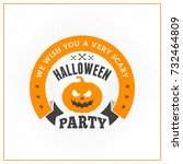 happy halloween badge  sticker  ... | Shutterstock .eps vector #732464809