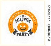 happy halloween badge  sticker  ... | Shutterstock .eps vector #732464809