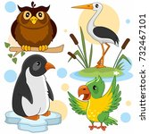 a set of cartoon pictures with... | Shutterstock .eps vector #732467101