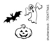 hand drawn set of halloween... | Shutterstock .eps vector #732477661