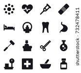 16 vector icon set   round... | Shutterstock .eps vector #732478411