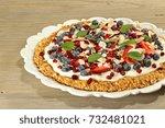 granola fruit breakfast pizza...   Shutterstock . vector #732481021