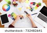 interior designer working with...   Shutterstock . vector #732482641