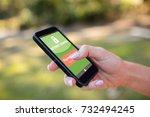 internet banking text on green...   Shutterstock . vector #732494245