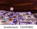 dice in flight above the one... | Shutterstock . vector #732494881