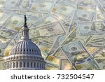 Stock photo collage with us capitol building and american dollars on blurred background 732504547