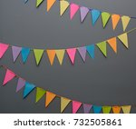 colorful triangle diy party... | Shutterstock . vector #732505861