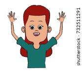 cute girl cartoon | Shutterstock .eps vector #732511291