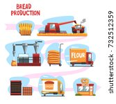 production of bread from wheat... | Shutterstock .eps vector #732512359