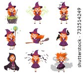 little girl witch set wearing... | Shutterstock .eps vector #732514249