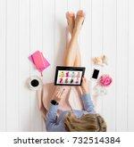 woman shopping online   Shutterstock . vector #732514384