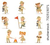 set of girls and boys in scout... | Shutterstock .eps vector #732515071