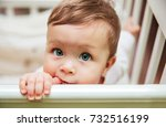 little cute baby girl with big... | Shutterstock . vector #732516199