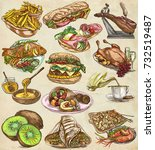 food menu.international cuisine ... | Shutterstock . vector #732519487