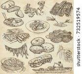 food menu.international cuisine ... | Shutterstock . vector #732519574