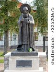 Small photo of PECHORY, RUSSIA - Sep 17, 2017. Monument to abbot Cornelius in Holy Dormition Pskov-Caves Monastery.