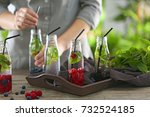 bottles of healthy infused... | Shutterstock . vector #732524185