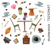 coffee shop isolated items set... | Shutterstock .eps vector #732529657