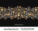 golden xmas  tree decoration on ... | Shutterstock .eps vector #732529939