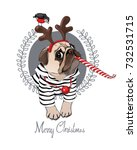 Stock vector christmas card pug dog in a striped cardigan in a horn deer mask and with a red funny party 732531715