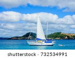 fishing boat and landscape in... | Shutterstock . vector #732534991