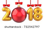 Happy New Year 2018 banner with red ribbon and bow. Text 2018 made in the form of a golden and red Christmas ball. 3D illustration of traditional festive Xmas bauble. Merry Christmas and Happy New - stock photo