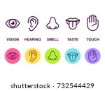 icon set of five human senses ... | Shutterstock .eps vector #732544429