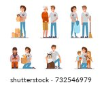 volunteers at work. flat style... | Shutterstock .eps vector #732546979