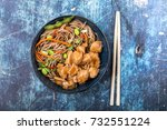 asian noodles with chicken ... | Shutterstock . vector #732551224