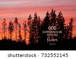 Small photo of Sun setting behind pine trees with a bible verse from the book of Psalm