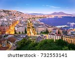 Panoramic scenic view of Naples at night, Campania, Italy