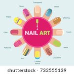 female manicure. icons nail... | Shutterstock .eps vector #732555139