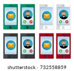 realistic colorful smartphone... | Shutterstock .eps vector #732558859