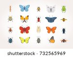 set of different insects in... | Shutterstock .eps vector #732565969