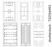 set of sport field. football or ... | Shutterstock .eps vector #732566401