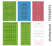 set of sport field. football or ... | Shutterstock .eps vector #732566551
