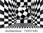 Magic Ball In Checkered Room