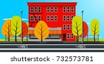 city street in autumn with red... | Shutterstock .eps vector #732573781