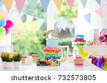 kids birthday party decoration... | Shutterstock . vector #732573805