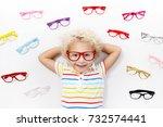 child at eye sight test. little ... | Shutterstock . vector #732574441
