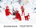 children with christmas tree on ... | Shutterstock . vector #732575974