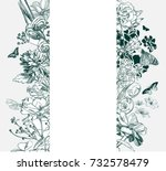 engraving flower background... | Shutterstock .eps vector #732578479