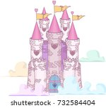 fairy tale princess castle in...   Shutterstock .eps vector #732584404