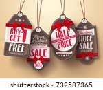 Christmas Sale Tags Vector Set...