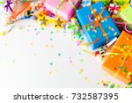 colored gifts for the new year  ...   Shutterstock . vector #732587395