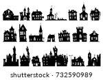 halloween haunted house church...   Shutterstock .eps vector #732590989