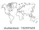 outline map of worldwide | Shutterstock .eps vector #732597655