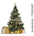 Stock photo decorated gold christmas tree with golder patchwork ornament artificial star hearts presents for 732601687